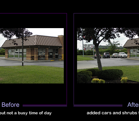 Added cars and shrubs to a photo that had a good exposure, but was not a b busy time of day for the business